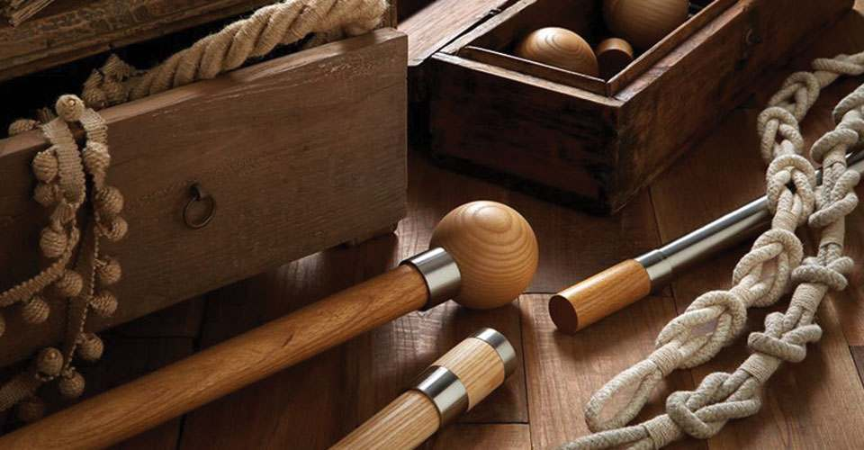 A range of custom wooden curtain poles